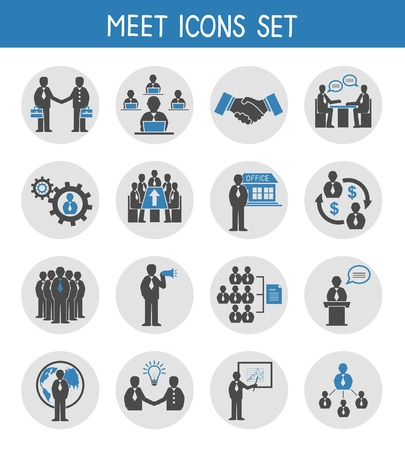 Flat business people meeting icons set of management and leadership isolated vector illustration Vector