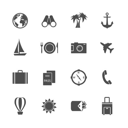 Holidays vacation pictograms collection of yacht plane sun and balloon isolated vector illustration Vector
