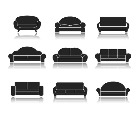 couch: Modern luxury sofas and couches furniture icons set for living room vector illustration Illustration