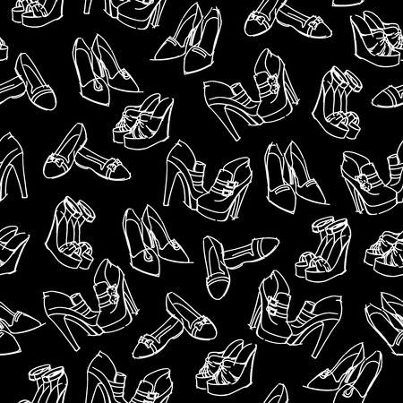 shoes vector: Seamless womans modern shoes sketch pattern background vector illustration