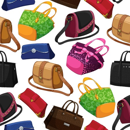 Seamless womans fashion bags handbag clutch pouch and satchel pattern background vector illustration Illustration