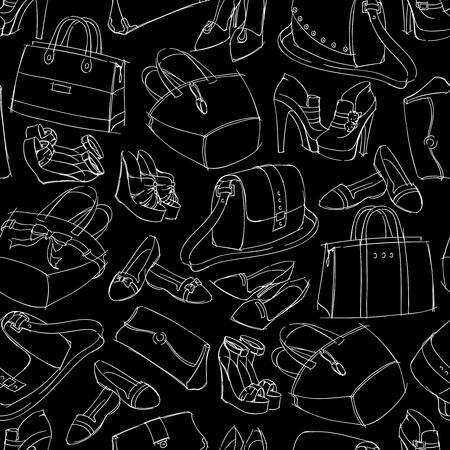 clutch cover: Seamless womans fashion accessory bags and shoes sketch pattern background vector illustration.