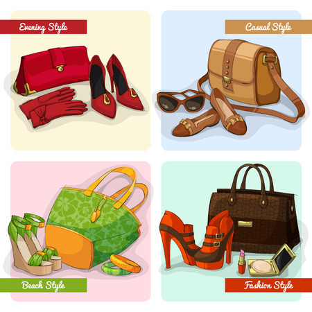 women in boots: Set of women elegant bags shoes and accessories in evening fashion casual and beach style isolated vector illustration
