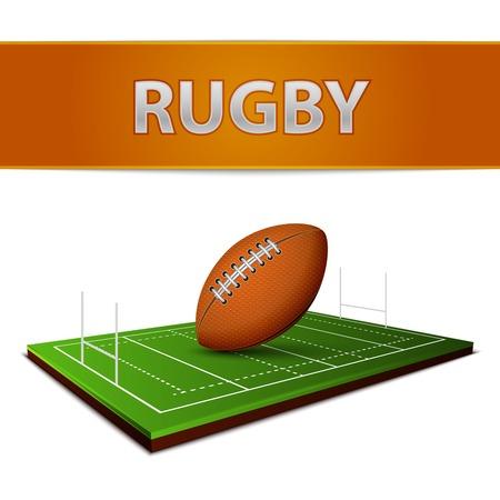 pelota rugby: Realista de fútbol o el rugby bola de heno emblema campo ilustración vectorial Vectores
