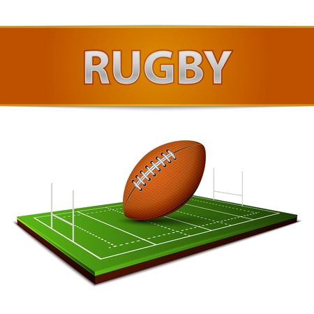 pigskin: Realistic football or rugby ball grass field emblem isolated vector illustration