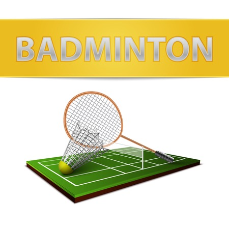Realistic badminton shuttlecock and racket emblem isolated vector illustration Vector