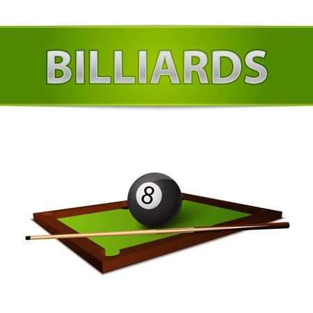 billiard balls: Realistic billiards ball with stick on green table emblem isolated vector illustration