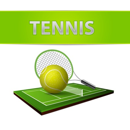 Realistic tennis ball green grass field lawn and rackets emblem isolated vector illustration Vector