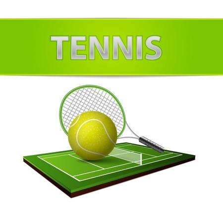 speelveld gras: Realistische tennisbal groene gras gazon en rackets veld embleem geïsoleerde vector illustratie