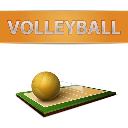 volley ball: Realistic volleyball ball and field emblem isolated vector illustration Illustration