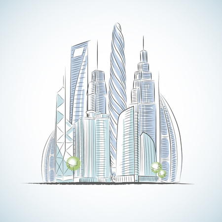 building sketch: Eco green buildings icons of skyscrapers isolated sketch vector illustration Illustration