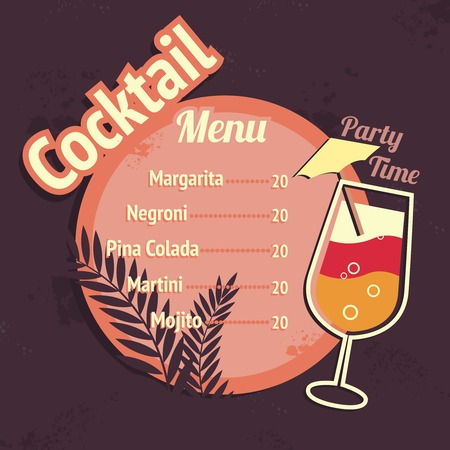 Alcohol cocktails drink restaurant beach cafe menu card template vector illustration Vector