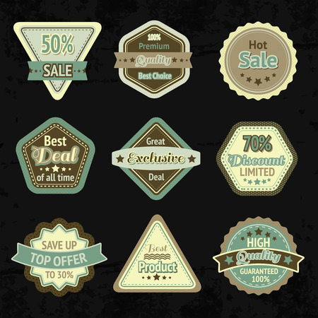 Sale labels and badges design set for best price high quality and exclusive deal isolated vector illustration Vector