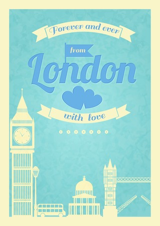 Love London vintage retro poster with big ben bridge and flyer vector illustration Vector