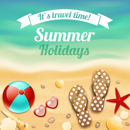 footprints in sand: Summer holiday vacation travel background poster with beach accessories sunglasses sandals and starfish illustration
