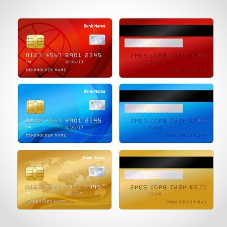 Cartes de crédit réalistes fixés illustration vectorielle isolé