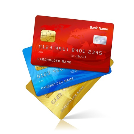 Realistic credit cards collection with reflection isolated vector illustration Çizim