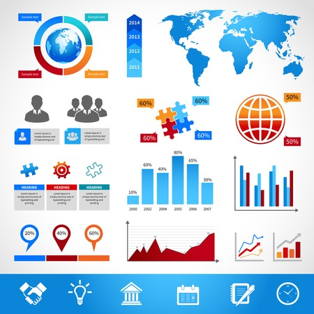 infomation: Business infographics layout design elements for charts and graphs vector illustration