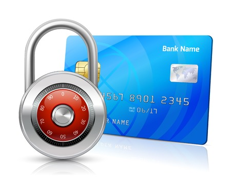 passcode: Online internet shopping payments by credit card with chip security concept isolated vector illustration