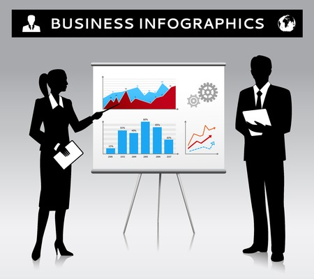 Flipchart presentation template with businessman and businesswoman silhouettes vector illustration Vector