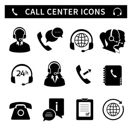 centro de computo: Iconos del servicio de centro de llamadas establecidas de asistencia telefónica de atención al cliente y el receptor de cabeza aislado ilustración vectorial Vectores