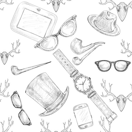 Seamless hand drawn hipster accessories pattern background vector illustration Vector