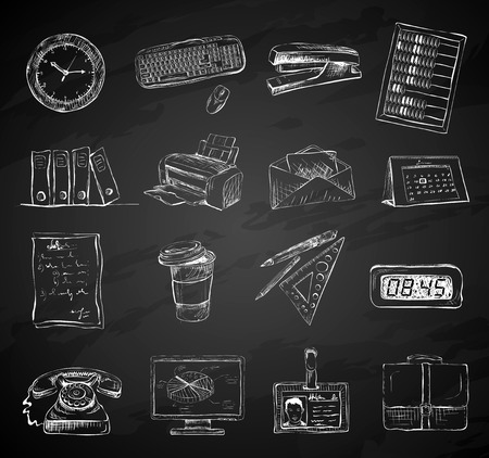 Business office stationery supplies icons set of folders files documents and briefcase isolated chalkboard vector illustration Vector