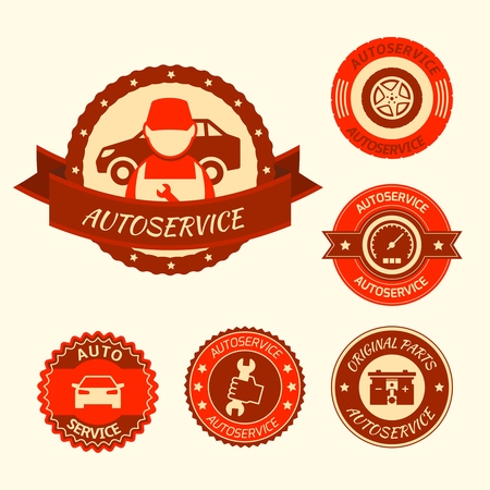 Car auto service labels badges emblems set isolated vector illustration Vector
