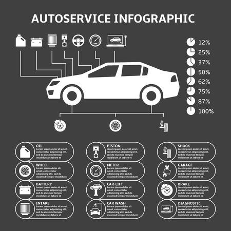 mekanik: Bil Auto Service infographics designelement med mekaniska delar ikoner vektor illustration Illustration