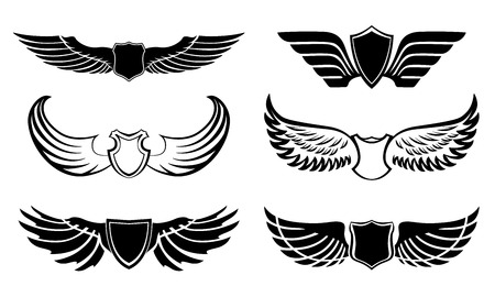 wings vector: Abstract feather angel or bird wings pictograms set isolated vector illustration