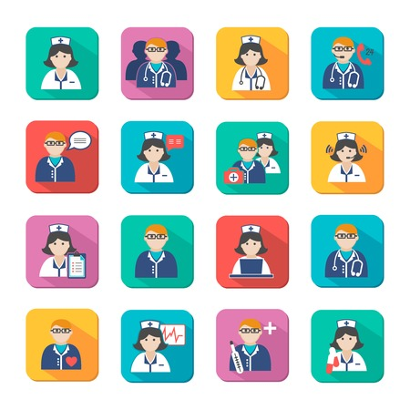 Medicine doctors and nurses icons set for emergency healthcare and hospital isolated vector illustration Illustration