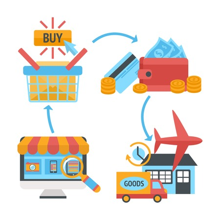 consumerism: Online internet website shopping icons set of product search order payment electronic wallet and home delivery vector illustration