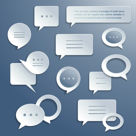 Abstract paper speech bubbles icons set for infographics and presentation templates isolated vector illustration Vector
