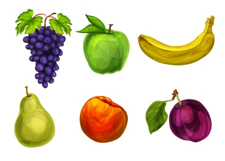 passion ecology: Collection of fresh organic fruits grape apple banana pear plum and peach isolated vector illustration