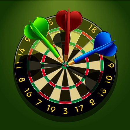 Dartboard with darts in the center concept business acumen success vector illustration Vector