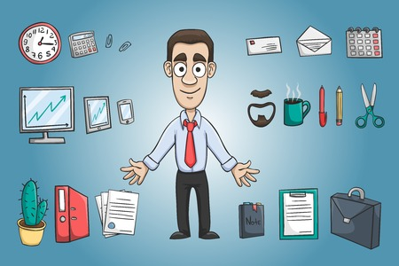 Business man character pack design elements with office stationery supplies vector illustration Vector