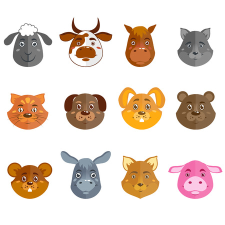 domestic animal: Wild and domestic animal cartoon characters collection for icons avatars or mascots isolated vector illustration Illustration