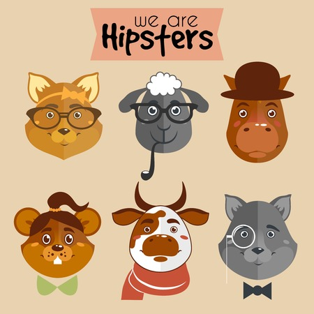 accessories horse: Collection of hipster cartoon character animals fox sheep horse mouse cow and wolf with accessories isolated vector illustration