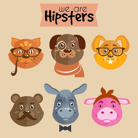Collection of hipster cartoon character animals cat dog rabbit bear pig and donkey with accessories isolated vector illustration Vector