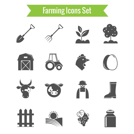 Farming harvesting and agriculture icons set on white background isolated vector illustration Vector