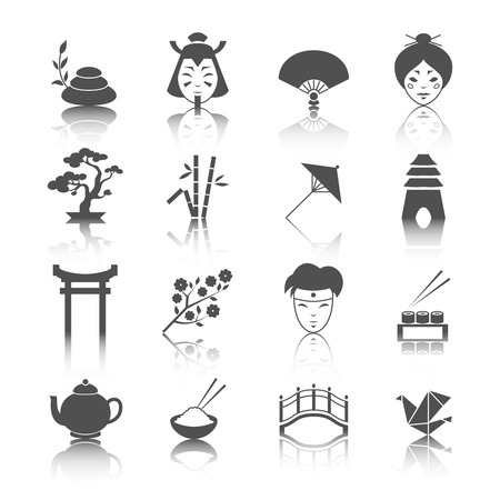 Japanese culture icons set of bonsai tree origami sushi and tea ceremony isolated vector illustration Vector