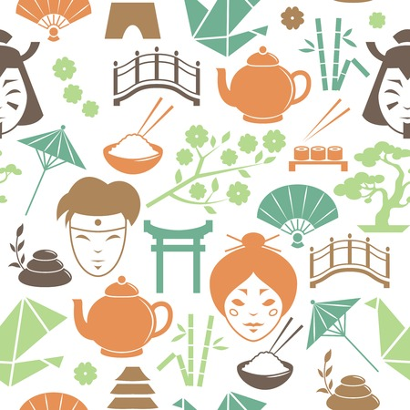 Seamless decorative japanese pattern background vector illustration Vector