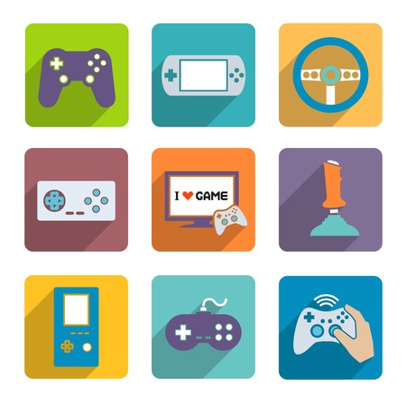 gamepad: Video computer console games controller icons set of joystick keypad steering wheel isolated vector illustration