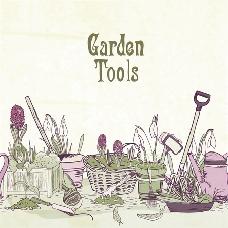 hand tool: Hand drawn gardening tools album cover border or frame with shovel secateurs rake and watering can illustration