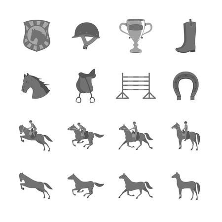 Horse with riders flat icons set of cup barrier saddle and horseshoe isolated illustration Vector