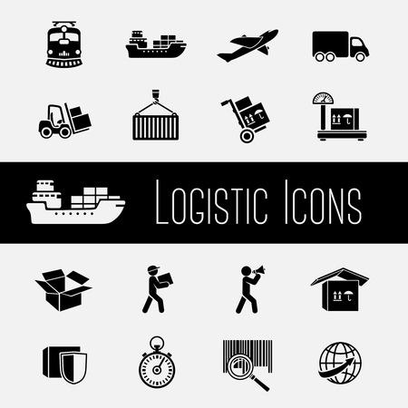 air freight: Logistica della catena di approvvigionamento globale icone set di trasporto di trasporto e consegna, illustrazione, Vettoriali