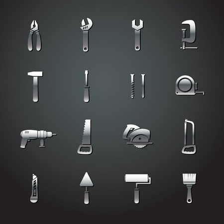Collection of metal tool stickers of wrench hammer spanner and screw isolated illustration Banco de Imagens - 26701819