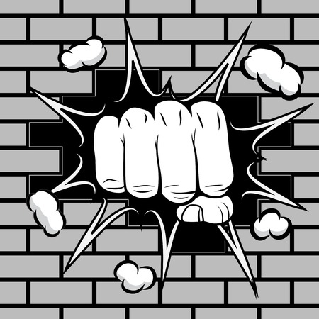 Clenched fist hit the wall emblem illustration Vector