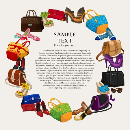 clutch cover: Luxury fashion shopping frame background with women shoes bags and accessories illustration