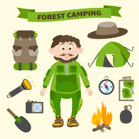 Camping and outdoor activity tourism infographic elements for web design and presentation illustration Vector